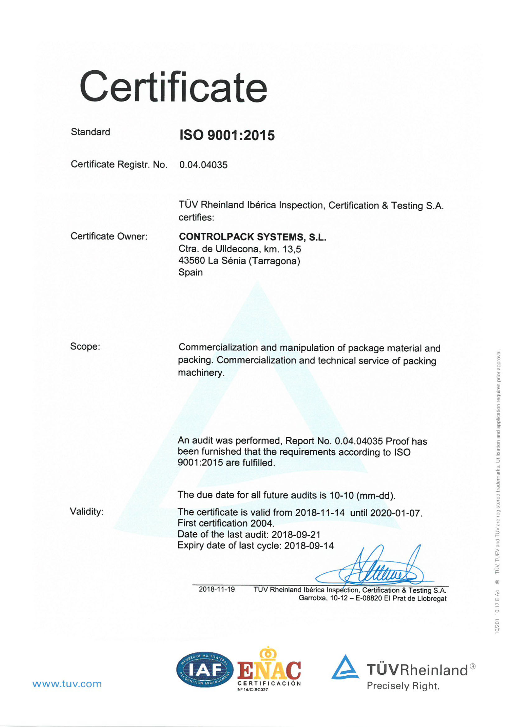 ISO certificate English